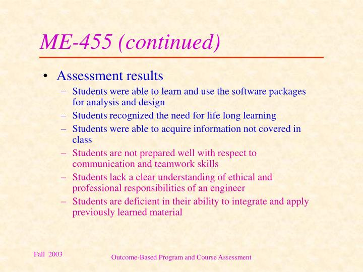 ME-455 (continued)
