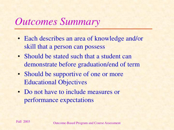 Outcomes Summary