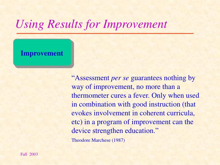 Using Results for Improvement