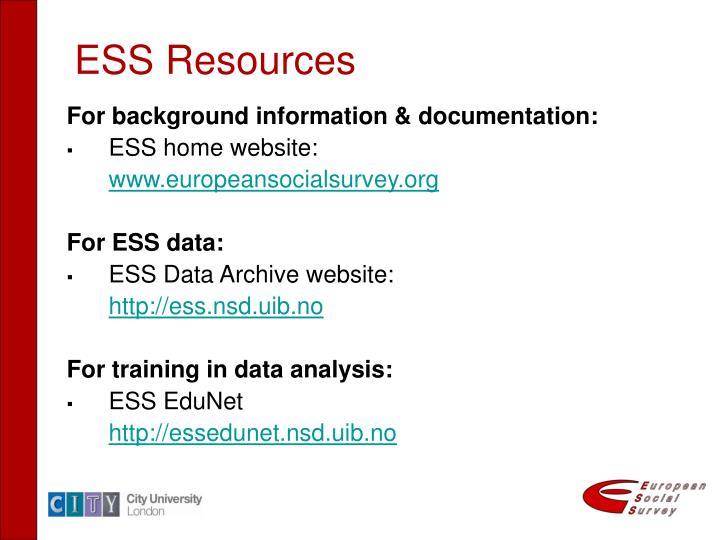 ESS Resources