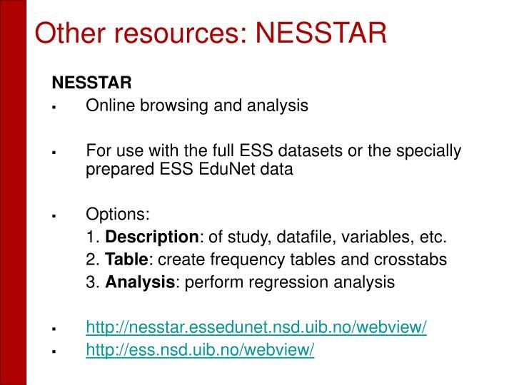 Other resources: NESSTAR