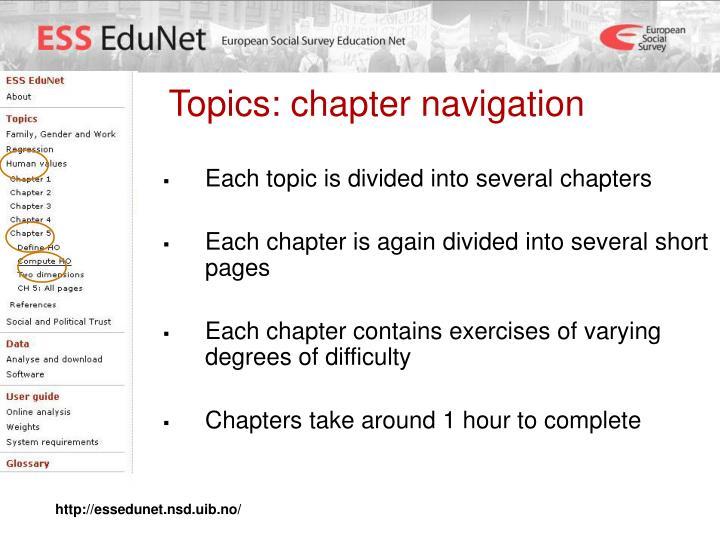 Topics: chapter navigation