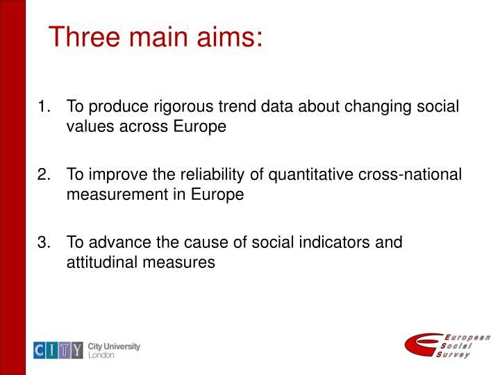 Three main aims: