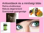 antioxid sok s a min s gi l t s retina elv ltoz sai makula degener ci szemizmok gyenges ge