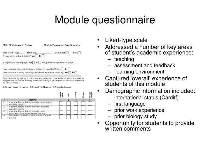 Module questionnaire