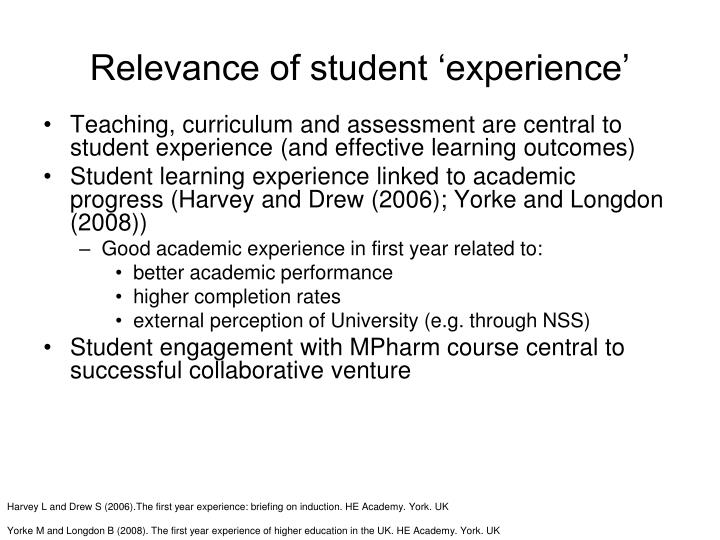 Relevance of student 'experience'