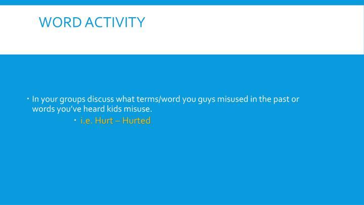 Word Activity