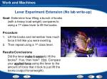 lever experiment extension no lab write up