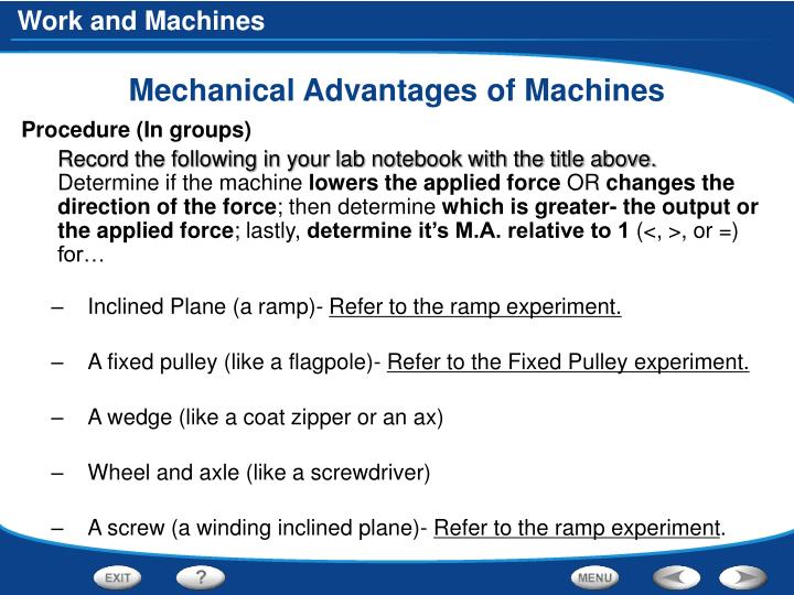 Mechanical Advantages of Machines