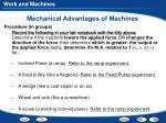 mechanical advantages of machines