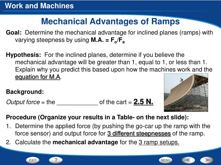 Mechanical Advantages of Ramps