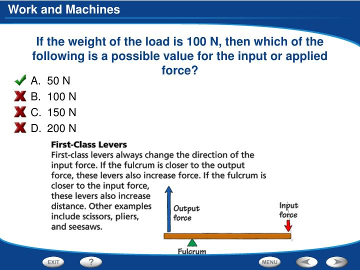 If the weight of the load is 100 N, then which of the following is a possible value for the input or applied force?