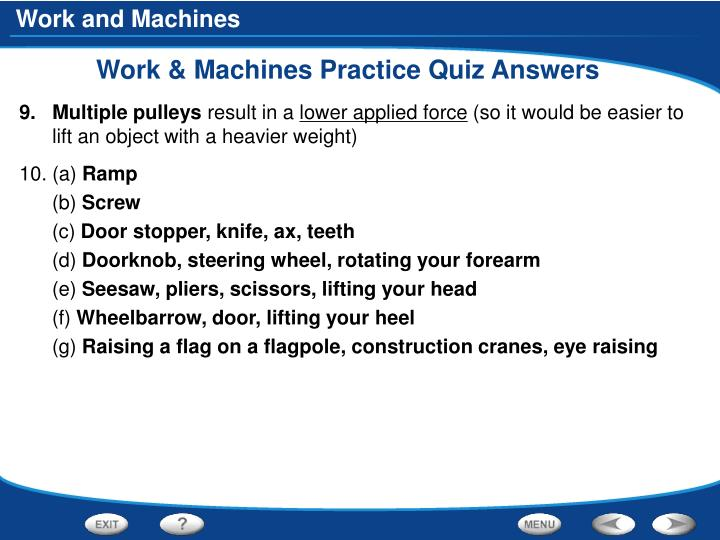 Work & Machines Practice Quiz Answers
