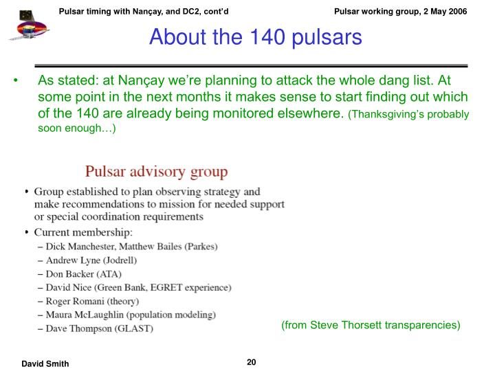 About the 140 pulsars