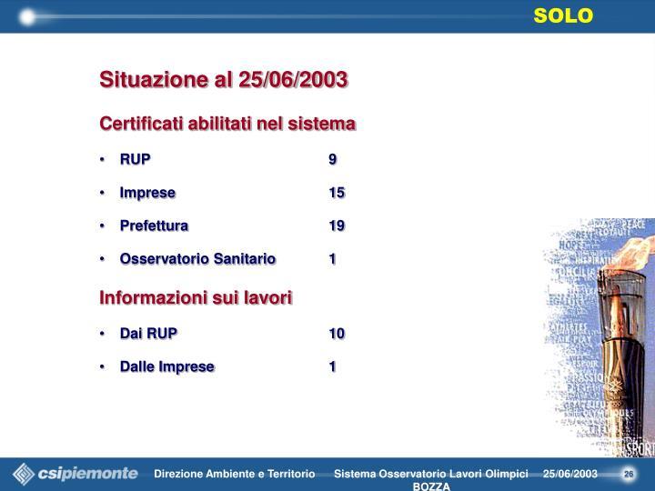 Situazione al 25/06/2003