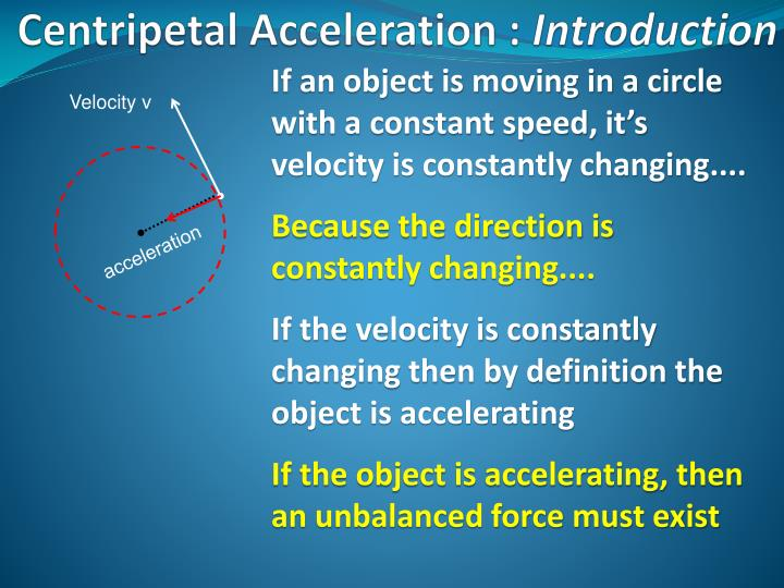 If an object is moving in a circle with a constant speed, it's velocity is constantly changing....