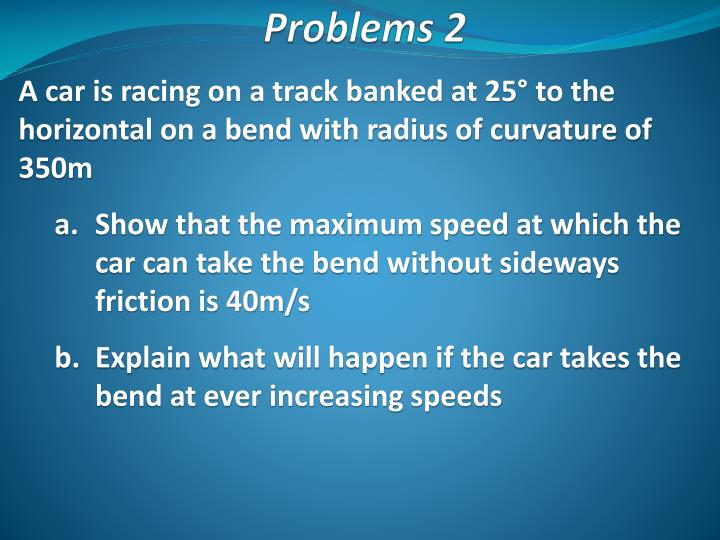 A car is racing on a track banked