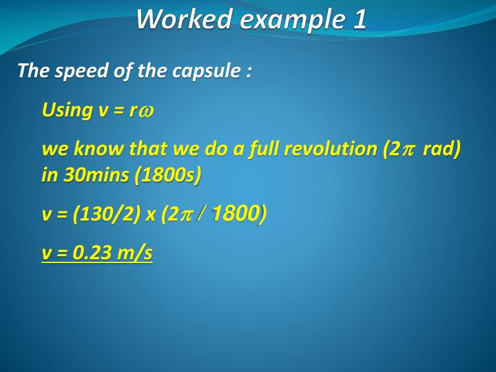 The speed of the capsule :