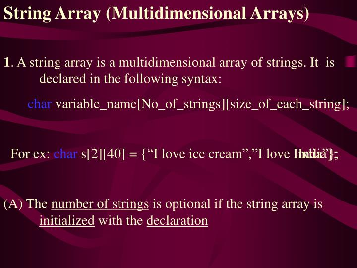 String Array (Multidimensional Arrays)