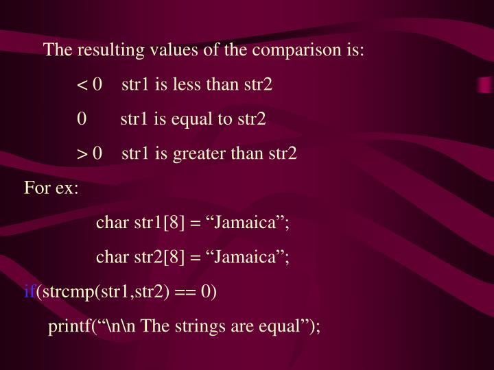 The resulting values of the comparison is: