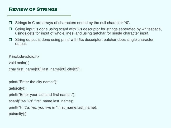 Review of Strings