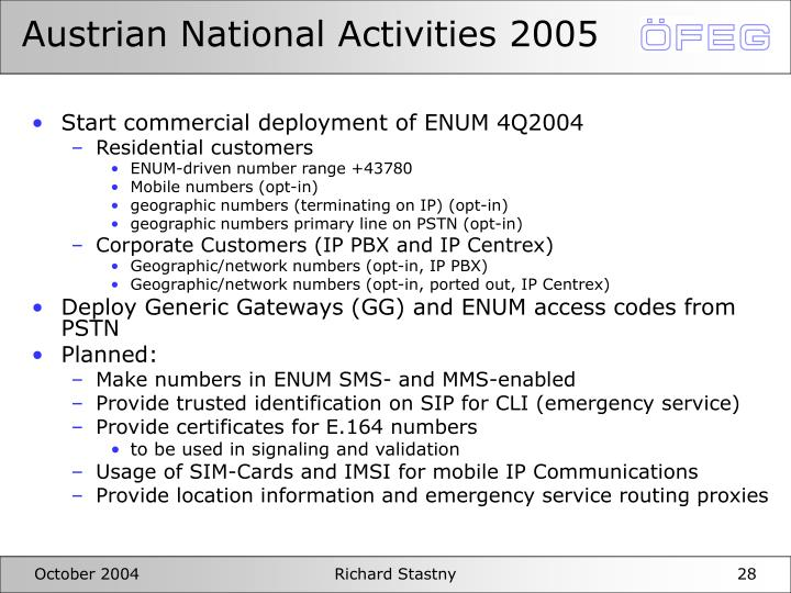 Austrian National Activities 2005