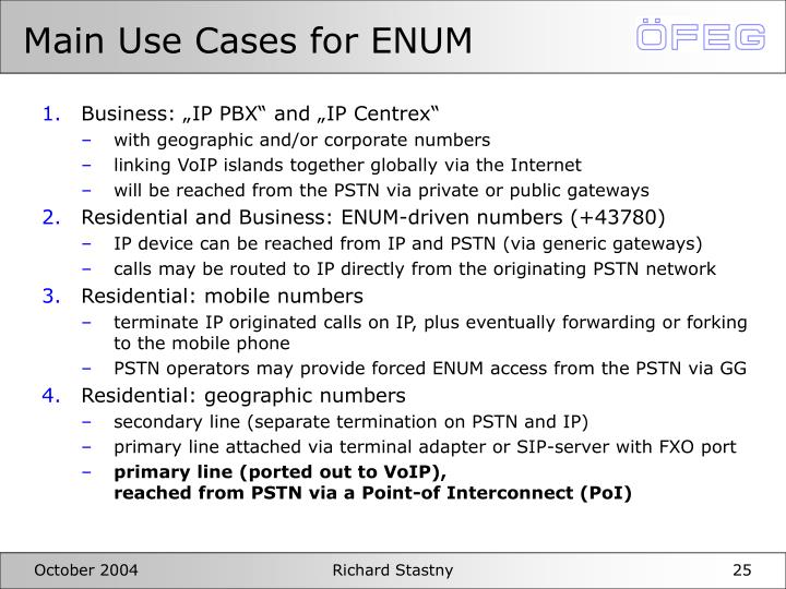 Main Use Cases for ENUM
