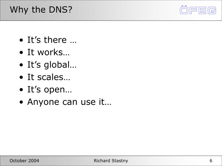 Why the DNS?