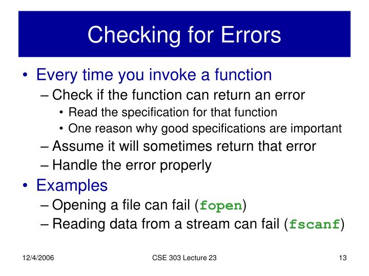 Checking for Errors