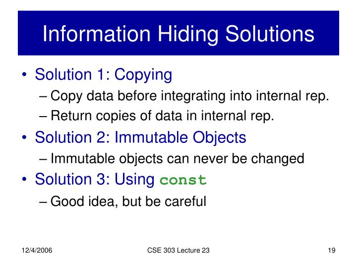 Information Hiding Solutions