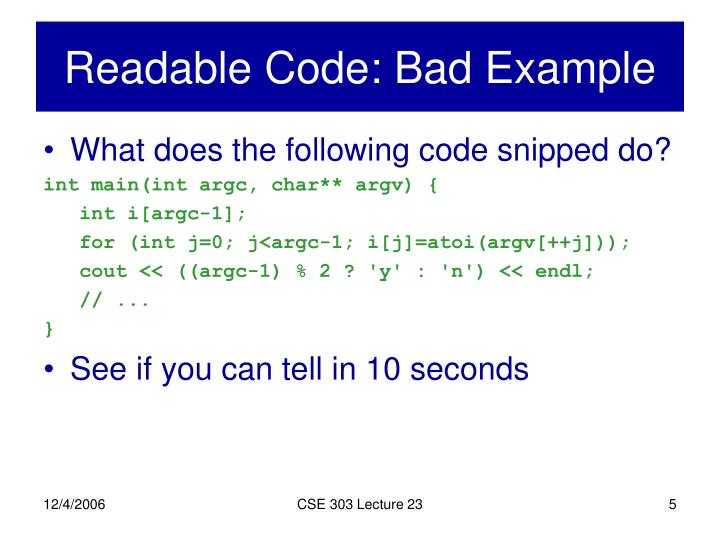 Readable Code: Bad Example