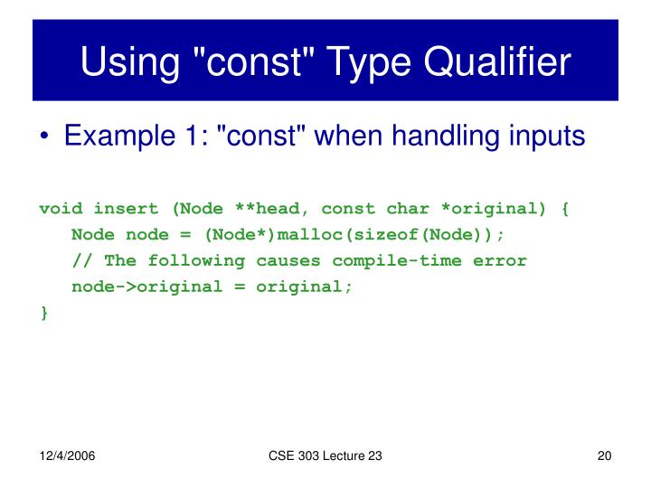"Using ""const"" Type Qualifier"