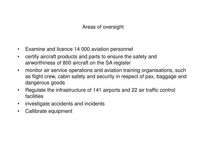 Areas of oversight
