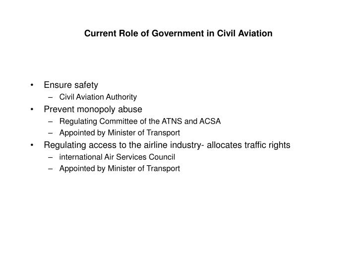 Current Role of Government in Civil Aviation