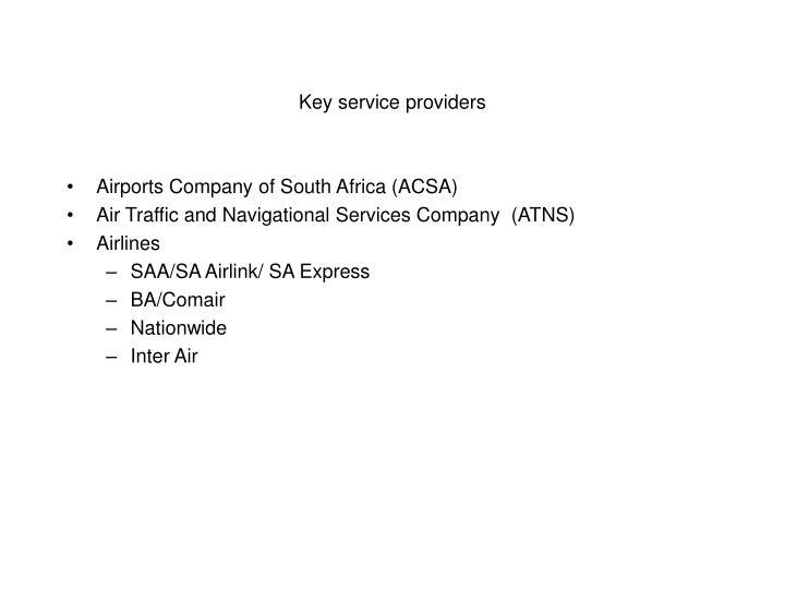 Key service providers