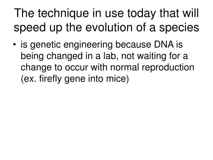 The technique in use today that will speed up the evolution of a species