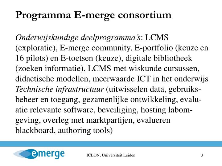 Programma E-merge consortium