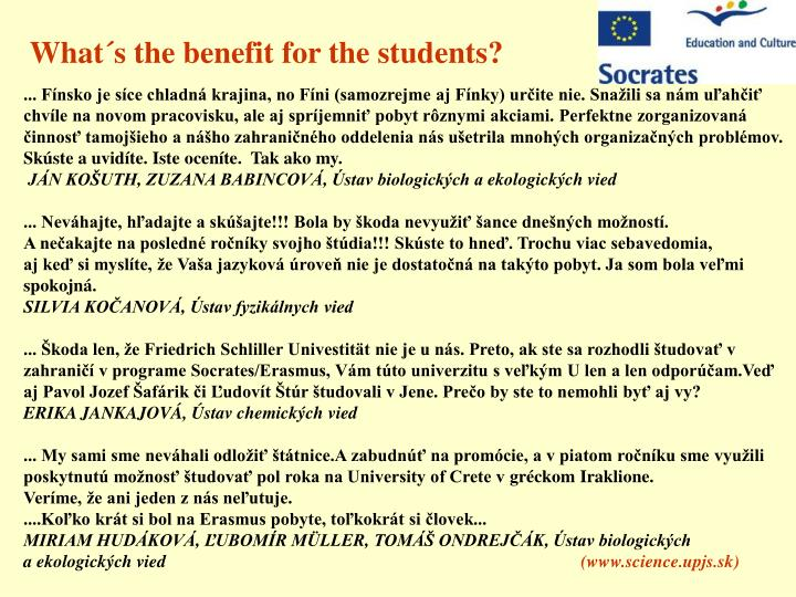 What´s the benefit for the students?