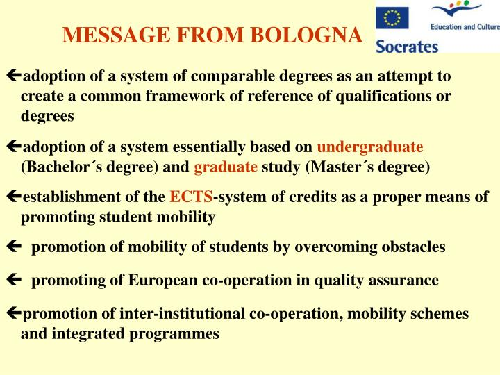 MESSAGE FROM BOLOGNA