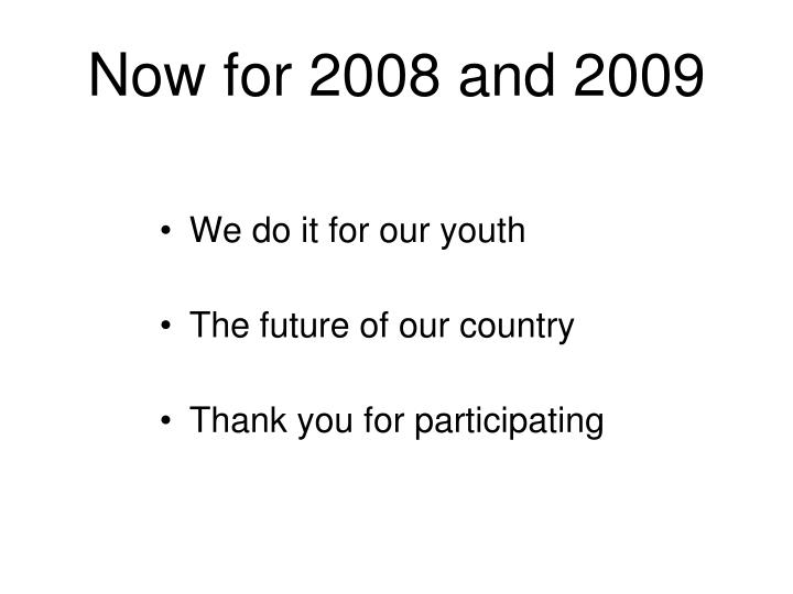 Now for 2008 and 2009