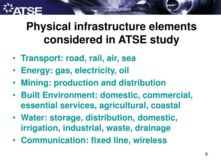 Physical infrastructure elements considered in ATSE study