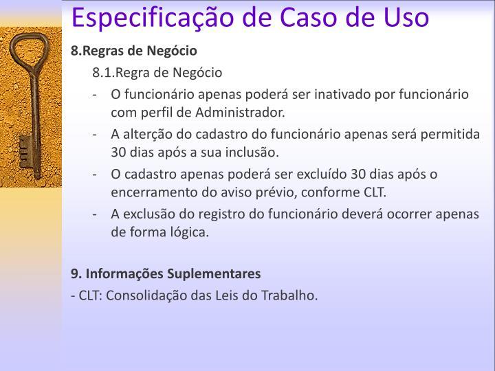 Especificação de Caso de Uso