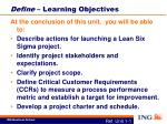 define learning objectives