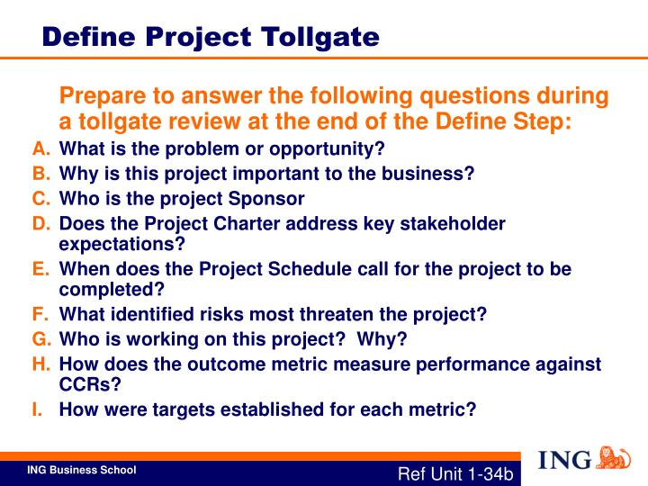 Define Project Tollgate
