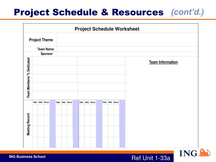 Project Schedule & Resources