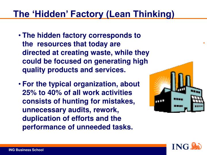 The 'Hidden' Factory (Lean Thinking)