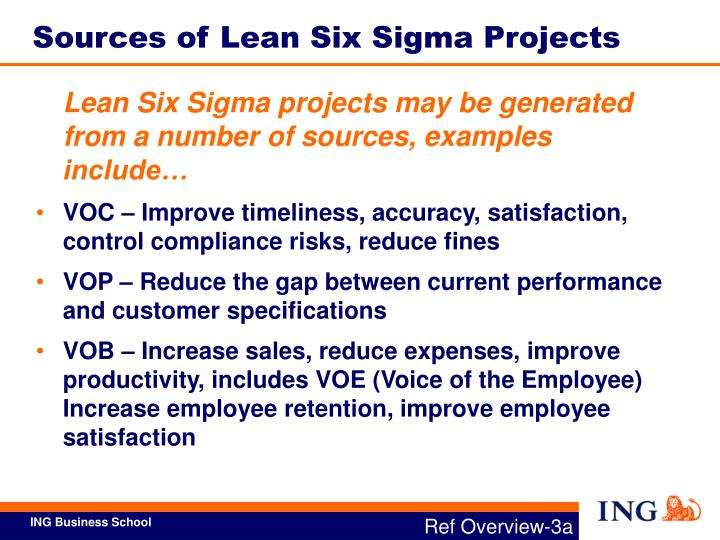 Sources of Lean Six Sigma Projects