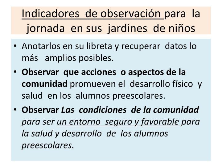 Indicadores  de observación