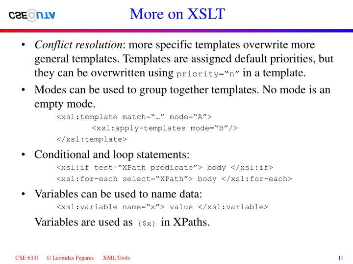 More on XSLT