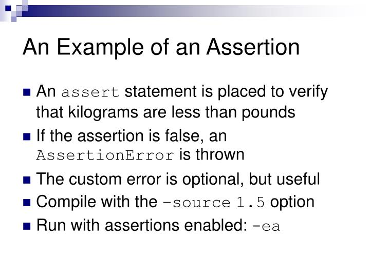 how to use assert statement in java